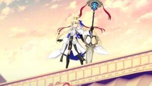 霊基第三再臨のアルトリア・キャスターが手にする巨大な杖は火の神が鍛え、大英雄に与えたとされる大剣である。[FGO 宝刀マルミアドワーズ]